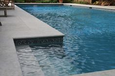 If you are working with the best backyard pool landscaping ideas there are lot of choices. You need to look into your budget for backyard landscaping ideas Pool Pavers, Concrete Pool, Pool Landscaping, Pool Tiles, Grey Pavers, Stained Concrete, Pool Coping, Pool Spa, Moderne Pools