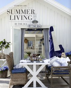 Summer porch - blues, whites & grays