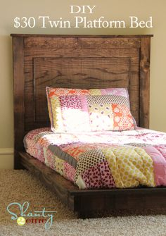 twin bed idea. cheap and easy for kids to get in and out of!
