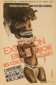 Exposition Ethnographique Vintage Poster artist Gid France c 1931 24x36 Giclee Gallery Print Wall Decor Travel Poster
