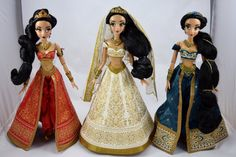 Three Jasmines - Red, Wedding and Teal Limited Edition 17'' Jasmine Dolls - Disney Store - Standing Side by Side - Full Front View
