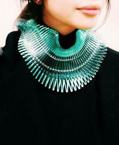laser cut CAPITRA necklace by Sarah Angold Studio at #LondonFashionWeek
