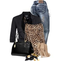 Printed Cami and a Blazer, created by pinkroseten on Polyvore