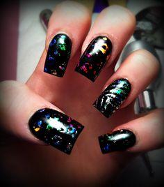 Rainbow Leopard print nail art