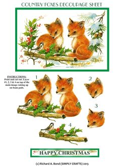 COUNTRY FOXES - TRADITIONAL DECOUPAGE SHEET