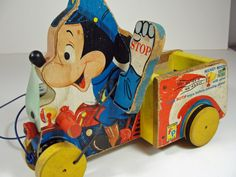 SALE Mickey Mouse Policeman Wood Pull Toy Vintage by RetrofitStyle, $75.00 #vintagetoys