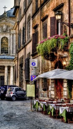 Street Cafe in Rome, Italy  Space. Place. Favorite. Paradise. Beach. Ocean. Sun.