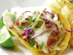 Grilled Fish Tacos with Vera Cruz Salsa Recipe : Bobby Flay : Food Network - FoodNetwork.com