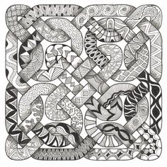 Celtic Challenge 31 zentangle by cathleen Zentangle Drawings, Doodles Zentangles, Zentangle Patterns, Doodle Patterns, Tangle Doodle, Tangle Art, Doodle Art, Zen Doodle, Celtic Patterns