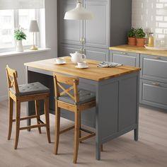 Tornviken kitchen island grey/oak 126 x 77 cm - ikea Kitchen Furniture, Kitchen Decor, Space Kitchen, Furniture Cleaning, Kitchen Ideas, Bedroom Furniture, Furniture Design, Oak Bedroom, Furniture Buyers