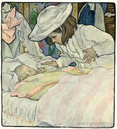 1903 Jessie Willcox Smith A New Baby for Sister original print