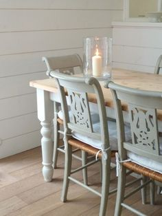 old furniture painted with an lovely colour; grey/green eggshell paint on rattan chairs