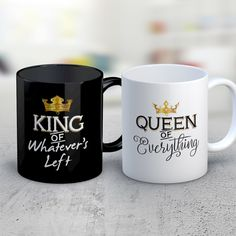 Matching Couples Coffee Mug Set of 2 - Queen of Everything, King of Whatever's Left - Cute Wedding Anniversary Present Gifts by MyFamilyTee on Etsy https://www.etsy.com/listing/478771262/matching-couples-coffee-mug-set-of-2