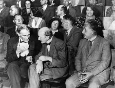 Robert Williams Wood, Max Planck and Albert Einstein in the front row of a session of the Physical Society in Berlin on July 28, 1931