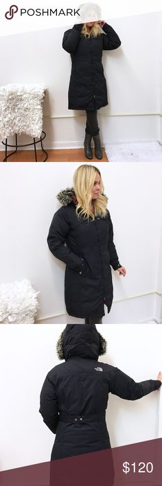 The North Face TNF Hyvent parka jacket coat L The North Face Hyvent TNF parka jacket. Sz L. Overall very good condition. Has all it's puff. When ever Black was work it rubbed the color on to the lining under the arms. Otherwise good condition. The North Face Jackets & Coats Puffers