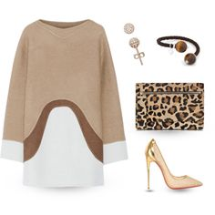 A pop of leopard print by jasminerb on Polyvore featuring moda, Marc Jacobs, Christian Louboutin, Gérard Darel, Cuero, leopard, ootd, jewelry, colorblock and neutrals