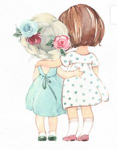 Fantasy Illustration, Cute Illustration, Watercolor Illustration, Watercolor Art, Art Drawings For Kids, Cute Drawings, Baby Girl Drawing, Cute Cartoon Girl, Mini Canvas Art