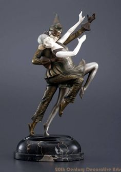 """Carnival Couple"" an Art Deco sculpture by Ferdinand Preiss, Germany 1930s."