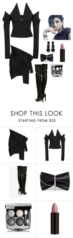 """""""Sexy in All Black"""" by kotnourka ❤ liked on Polyvore featuring Yves Saint Laurent, Givenchy, Chanel, Jimmy Choo, Serge Lutens and Simone Rocha"""