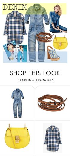 """Denim jumpsuit"" by valentina-delia ❤ liked on Polyvore featuring Abercrombie & Fitch, Lowie, Chloé, Madewell, H&M, Report, women's clothing, women, female and woman"