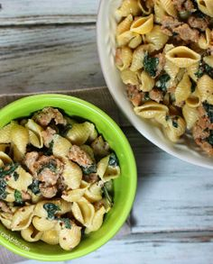 Emily Bites - Weight Watchers Friendly Recipes: Creamy Pasta with Sausage & Mustard Seeds