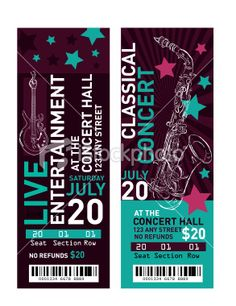 Concert Ticket Template Free | Colorful set of concert ticket templates Royalty Free Stock Vector Art ...