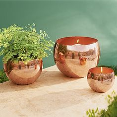 £65 3 striking copper votive bowls with highly polished finish, perfect for candles or decorative plants. Will age if kept outdoors.