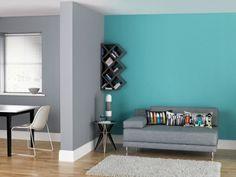 Fesselnd Grau Und Türkis   Eine Nicht Zu Aufregende Kombination Wandgestaltung Türkis,  Graue Wände Wohnzimmer,