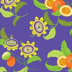 Flowering Passionfruit/Rich Purple fabric by clarissa_macedo on Spoonflower