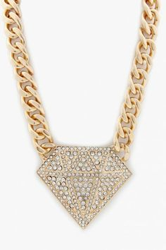 Chunky Diamond Shape Necklace Set - Gold