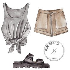 Good objects - saturday's outfit - #goodobjects Watercolor illustration