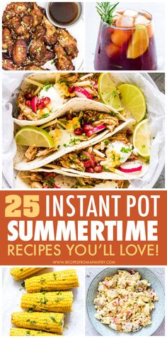 This Collection of delicious Instant Pot Summer Recipes is chock full of easy, no-fuss and totally delicious summertime eats. Including hamburgers, potato salad, chicken recipes, corn on the cob Potluck Recipes, Supper Recipes, Beef Recipes, Soup Recipes, Breakfast Recipes, Chicken Recipes, Instant Pot Chicken Thighs Recipe, Best Instant Pot Recipe, Pressure Cooker Chicken