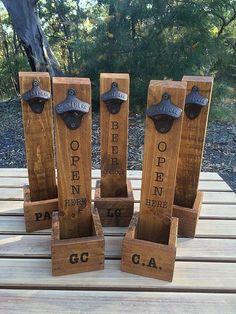 Beer Bottle Opener Bottle Cap Catcher / Craft by RoarTimberworks #WoodworkingProjectsBeer