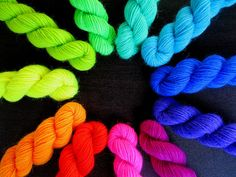 (sold) Neon Minis - 11x Hand Dyed Sock Yarn Mini Skeins by Spacefrog Yarns on Etsy