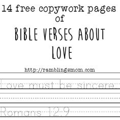 Bible Verses about Love Copywork downloads #valentinesday