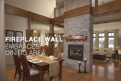 Love when the house has the rooms open and connected this way.makes you feel more connected with everyone in the home. Home Fireplace, Fireplaces, Fireplace Ideas, Double Sided Fireplace, My Dream Home, Dream Homes, Home Living Room, Great Rooms, Home Projects