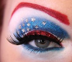 Patriotic makeup eyes blue red makeup pretty white 4th of july july 4th lashes