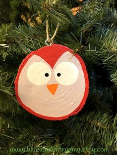 Owl Face Christmas Ornament painted on a by BlueLondonTrading