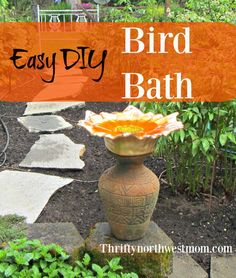 Put together this easy and frugal DIY Bird Bath for a fraction of the cost and enjoy birds year round in your yard or garden. Diy Arts And Crafts, Diy Craft Projects, Diy Crafts For Kids, Diy Bird Bath, Bird Bath Garden, Raised Garden Bed Plans, Easy Garden, Gardening Tips, Sustainable Gardening