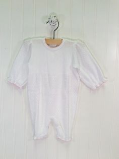 Cuffed Romper White with Pink