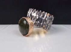 Unique Sterling Silver Labradorite Ring Gold Accents Modernist Artisan Boho #Unknown