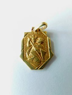 94c8ba269e2 18 Carat Gold St Christopher Pendant signed J. Holy, French Art Deco Medal,