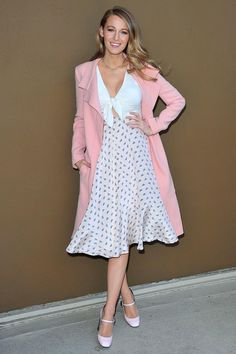 blake lively blush coat+white front tie top+ flaired printed midi skirt+pale rose mary jane shoes