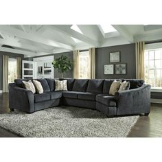 Eltmann Sectional with Right Arm Facing Cuddler - Slate, Gray, Signature Design by Ashley Furniture Outlet, Discount Furniture, Furniture Deals, New Furniture, Living Room Furniture, Living Rooms, Cuddler Sectional, Grey Sectional, 3 Piece Sectional