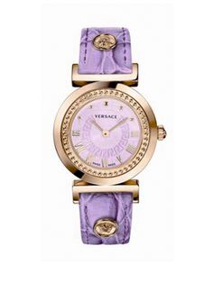 Versace Swiss Made Ladies Vanity Watch with Rose Gold Case and Leather Strap