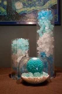 Rock Candy Centerpiece for your next fancy crystal meth party. Mermaid Under The Sea, Under The Sea Theme, Under The Sea Party, Mermaid Baby Showers, Baby Mermaid, Mermaid Birthday, Mermaid Wedding, Turtle Birthday, Turtle Party