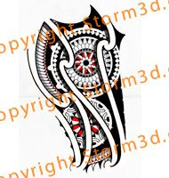 Maori mandala tattoo with red accents and compass