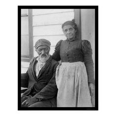 Elderly African American Couple 1900     Zazzle's collection of vintage photographs has an amazing assortment of classic images ranging from the historic to the whimsical. This commemorative poster print features a reproduction of a photograph of an elderly African American couple posed outside of a building, near Hampton Institute, Hampton, Virginia; taken by Frances Benjamin Johnston, one of the first American women to achieve prominence as a photographer, in 1900.
