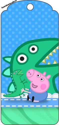 Tag Agradecimento Geoge Pig e Dinossauro: