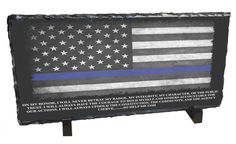 Blue Line Flag & Officer's Oath Slate Photo Rock | Brotherhood Products